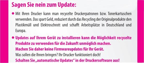 Update von HP verhindert die Nutzung von recycelten Patronen