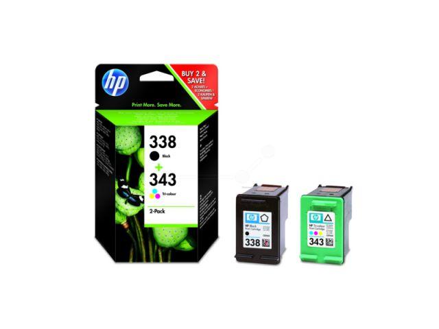 SD449EE Multipack Druckerpatrone mit Druckkopf HP No. 338 schwarz u. No. 343 color, schwarz und