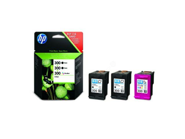 SD518AE Multipack Druckerpatrone mit Druckkopf HP No.300 mit 2 x schwarz u. 1 x color, schwarz