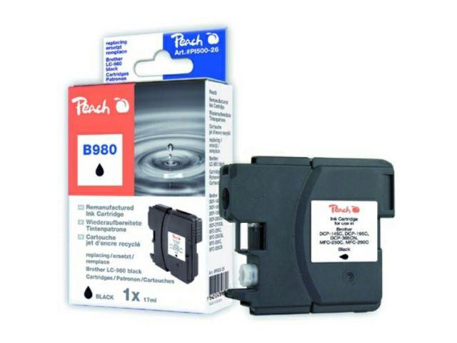 Recycelte Tintenpatrone LC-980BK mit XL Inhalt von 13 ml für ca. 450 Seiten, schwarz