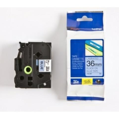 Brother P-Touch 36mm schwarz auf blau Laminat,