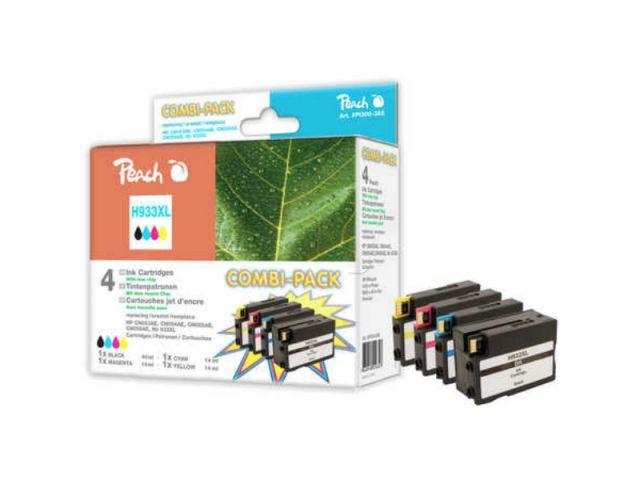 Peach Combipack mit 1x42ml u. 3x14ml Inhalt mit CHIP, recycelte Originalpatronen CN053AE,