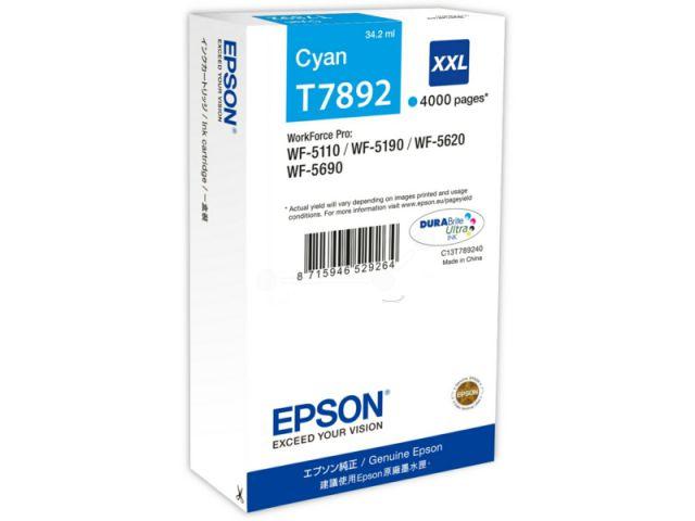 C13T789240 Tintenpatrone XXL mit 34, 2 ml Inhalt original Epson Druckerpatrone T7892 cyan