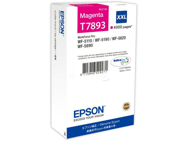C13T789340 Tintenpatrone XXL mit 34, 2 ml Inhalt original Epson Druckerpatrone T7893 magenta