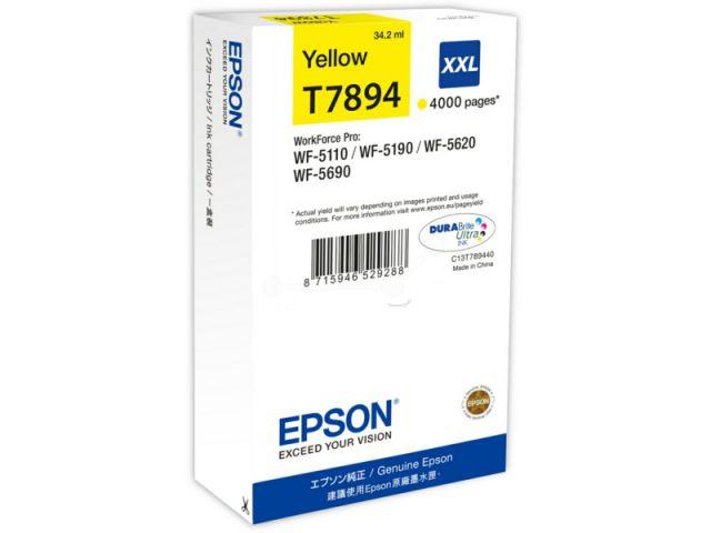 C13T789440 Tintenpatrone XXL mit 34, 2 ml Inhalt original Epson Druckerpatrone T7894 yellow