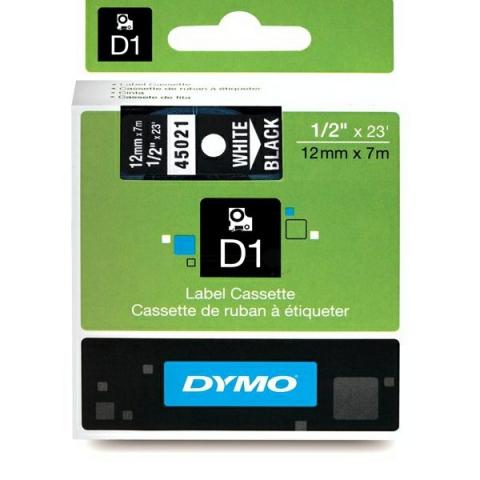 Dymo DYMO Schriftband D1 45021 weiß , schwarz WA
