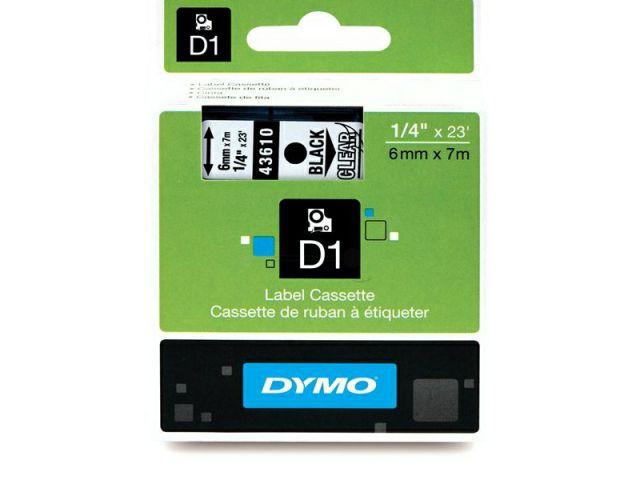 DYMO Schriftband D1 43610 schwarz / transparent