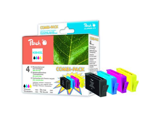 Peach Combipack mit 4 Patronen 1x19ml u. 3x12ml Inhalt recycelte Druckerpatrone für CN684EE,