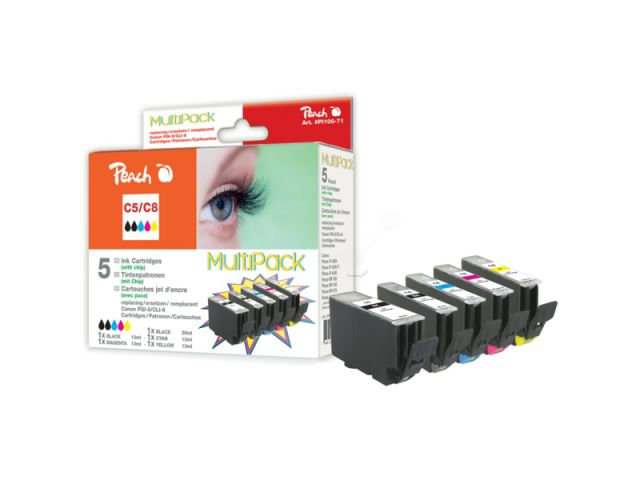 Peach Multi Multipack mit 5 kompatiblen Druckerpatronen mit CHIP, 1x 26ml schwarz, 3x 14ml