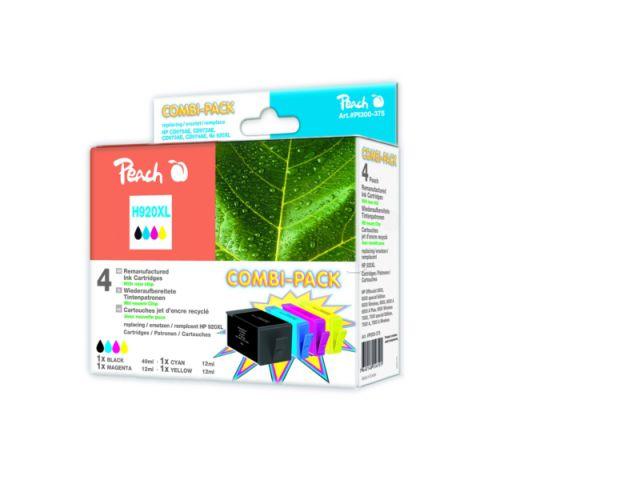 Peach Combipack mit 4 Patronen 1x49ml u. 3x12ml Inhalt recycelt mit CHIP, ersetzt HP No.920 XL