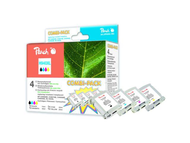 Peach Combipack mit 1x70ml u. 3x25ml Inhalt mit CHIP, recycelte HP Originalpatronen C4906AE,
