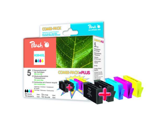 Peach Combipack + PLUS mit 5 Patronen 2x19ml u. 3x12ml Inhalt recycelte Druckerpatrone für