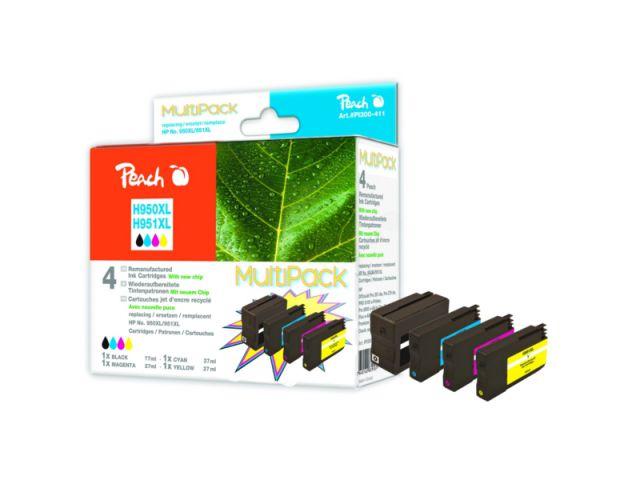 Peach Combipack mit 4 Patronen mit CHIP, recycelte Originalpatronen HP CN045AE, CN046AE,
