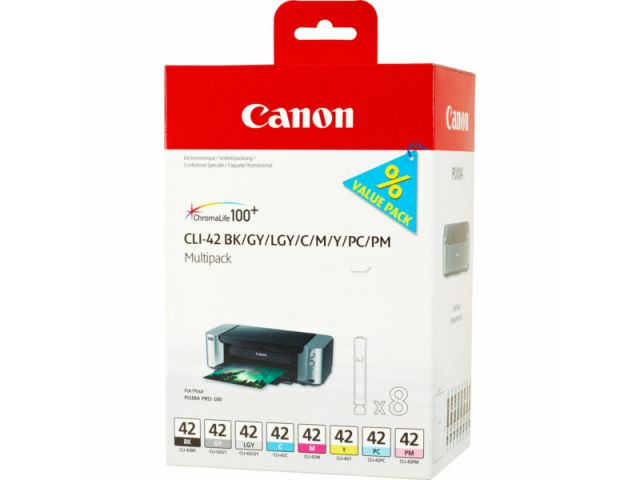 CLI-42 Multipack Druckerpatronen Canon mit Multipack für Canon Fotodrucker 8 x 13 ml Inhalt,