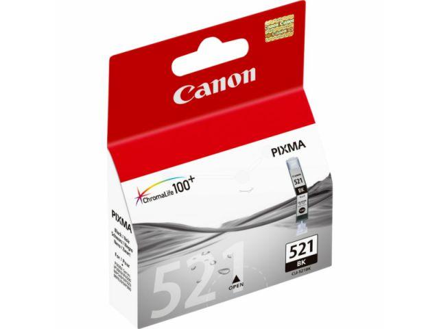 CLI-521Bk Druckerpatrone mit 9 ml ChromaLife100+ Druckertinte, Originalprodukt von Canon, black