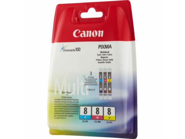 CLI-8 C / M / Y Canon Druckerpatronen im Multipack mit 3 x 13ml Inhalt, color