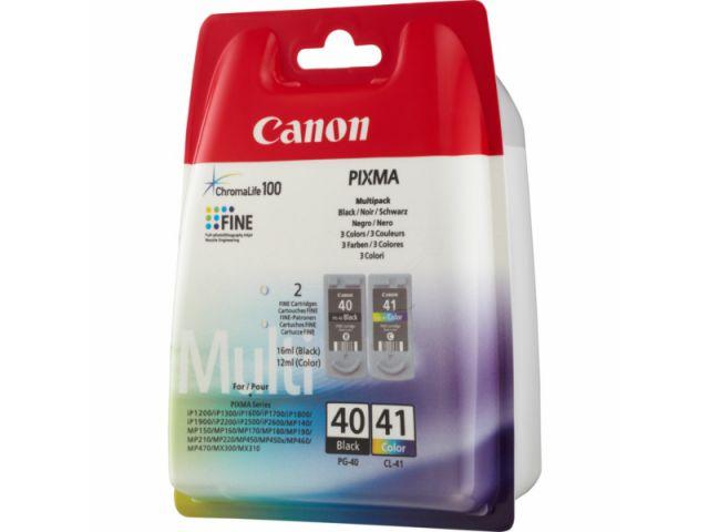 Multipack Druckerpatrone mit Druckkopf Canon, 1 x CL-41 color 12 ml + 1 x PG-40 schwarz 16 ml,