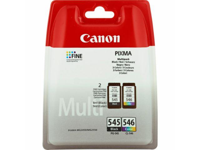 Multipack Druckerpatronen mit Druckkopf Canon, 1 x PG-545 schwarz mit ca. 8 ml Inhalt und 1 x