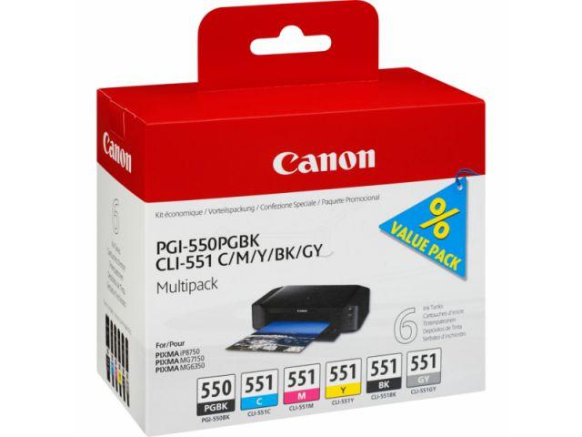 CLI-551 Multipack Druckerpatronen von Canon mit 5 x 7 ml Inhalt (BK/C/M/Y/GY) + 1 x 11ml