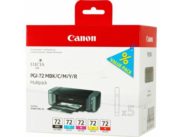 PGI-72 Multipack Druckerpatronen Canon mit 5 x 14 ml Inhalt (BK / C / M / Y / R), schwarz und