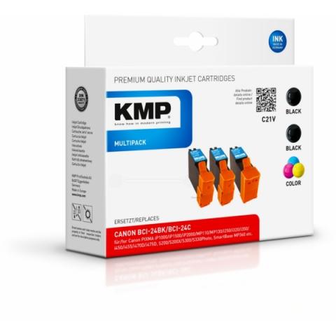 KMP Multipack ersetzt Canon BCI-24BK und BCI-24C