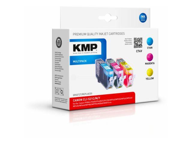 Kompatible Tintenpatrone, 3 x 9ml Inhalt, ersetzt Canon CLI-521 Multi, color