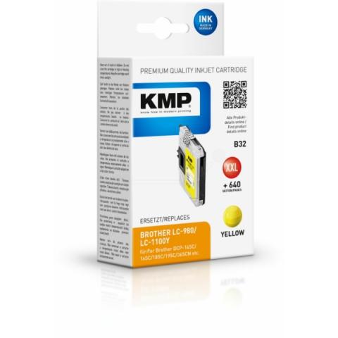 KMP Druckerpatrone ersetzt Brother LC980Y ,