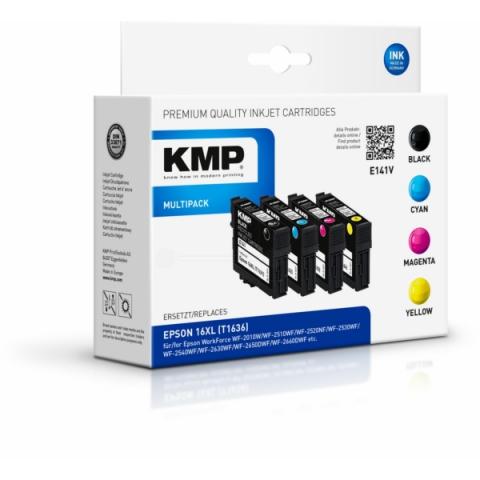 KMP Multipack mit 4 Tintenpatronen, ersetzt 16XL