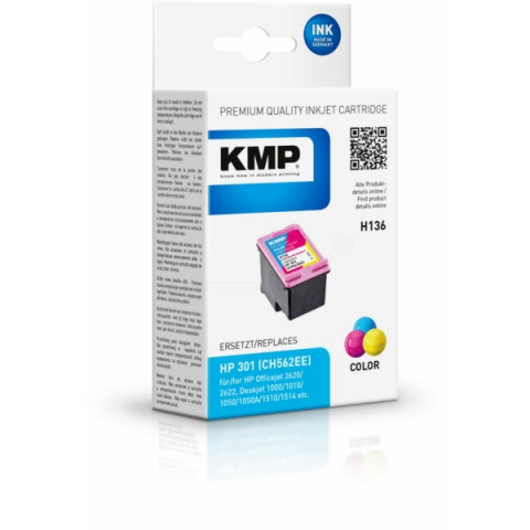 KMP Druckerpatrone, recycelt, ersetzt HP 301 ,