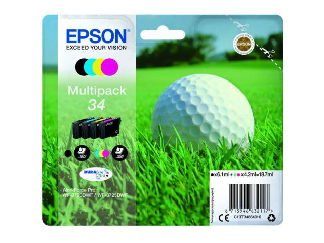 C13T34664010 original Druckerpatronen im Multipack für Epson WF3720DWF, 1x6,1 + 3x4,2 ml , color