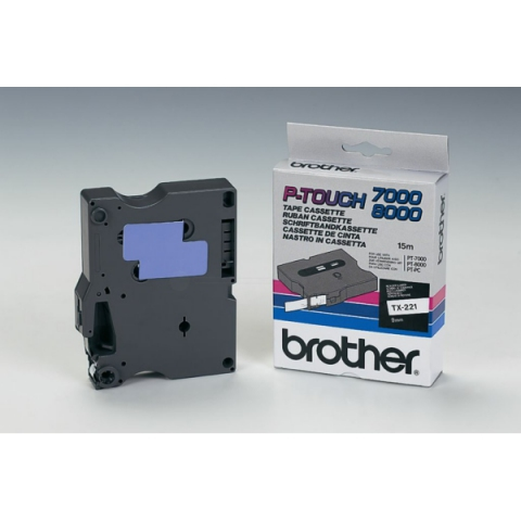 Brother TX221 BROTHER P-TOUCH 9mm W-Bwhite-black