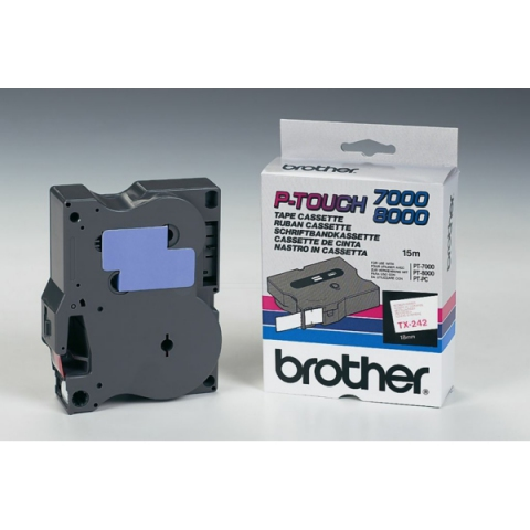 Brother TX242 BROTHER P-TOUCH 18mm W-Rwhite-red