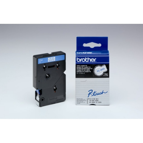 Brother TC203 BROTHER P-TOUCH 12mm W-Bwhite-blue