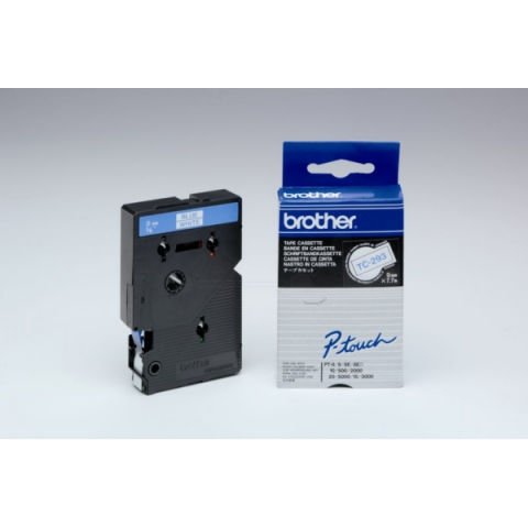 Brother TC293 BROTHER P-TOUCH 9mm W-Bwhite-blue