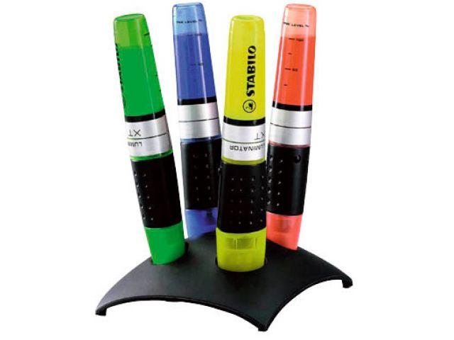 Stabilo Textmarker Set ''LUMINATOR'' in formschönen Standfuß mit je 1x grün, gelb, orange, blau