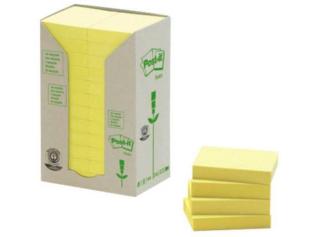 Post-it Haftnotizen aus Recyceltem Papier, 3,8 x 5,1cm , Pack mit 24 Blöcken Inhalt, 74g/qm ,