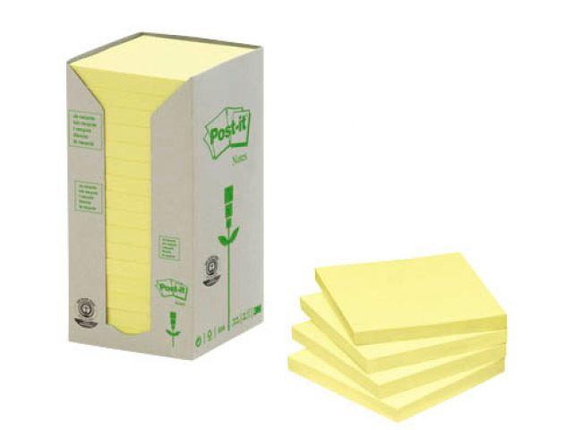 Post-it Haftnotizen aus Recyceltem Papier, 7,6 x 7,6 cm, Pack mit 16 Blöcken Inhalt, 74g/qm ,