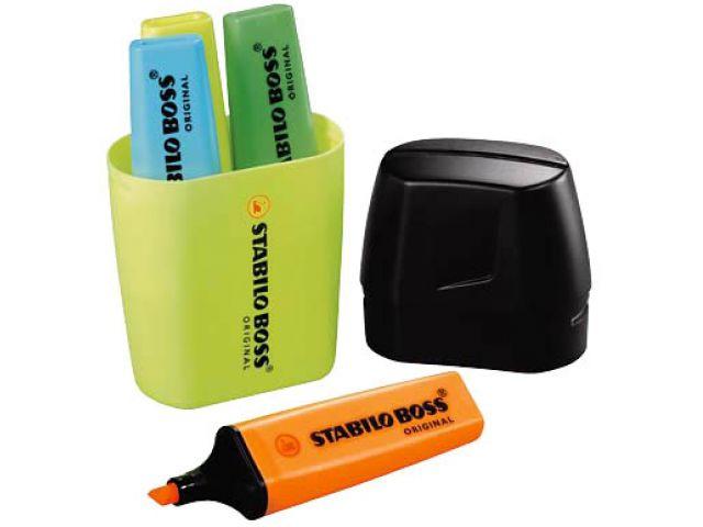 STABILO Textmarker Set, das Original, farbsortiert mit je 1x gelb, orange, blau, grün in