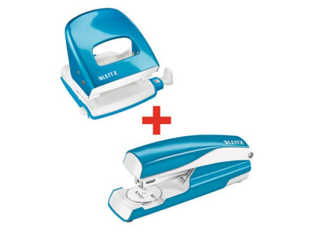 Markenprodukte von LEITZ im robusten und ergonomisch geformten Set, Bürolocher und Heftgerät in