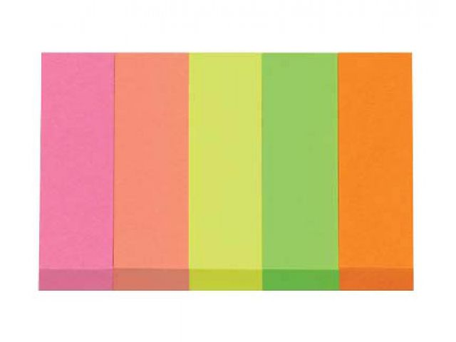 Post-it® Haftmarker neon 1,5 x 5,0 cm, 5 Streifen a 100 Blatt, bunt sortiert, 70 g/qm, color