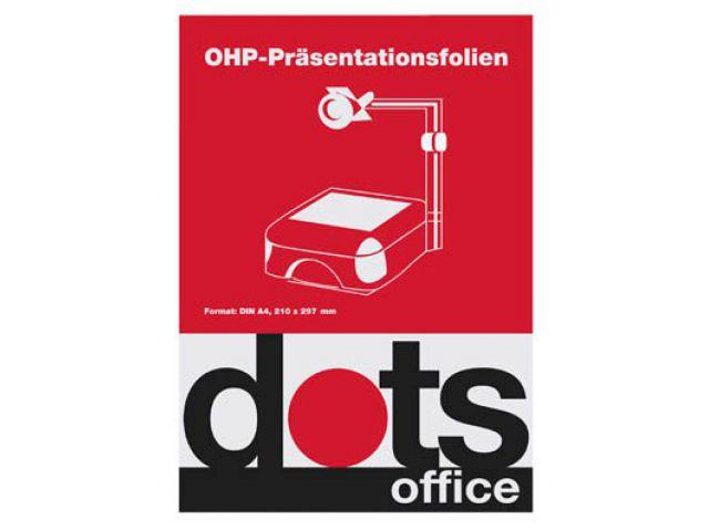 dots OHP-Folien für InkJet-Drucker, DIN A4, Stärke 0, 10 mm, Inhalt: 50 Blatt, glasklar