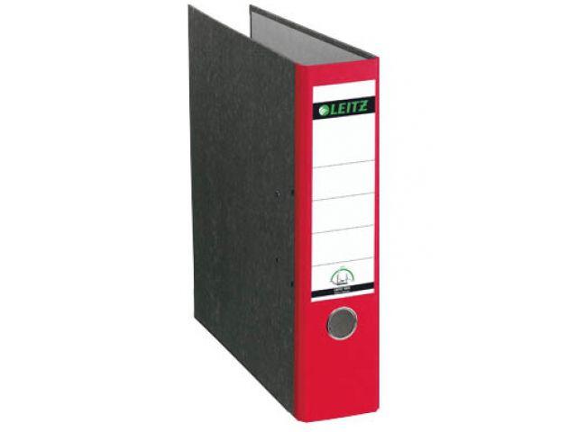 LEITZ Ordner rot, das original aus stabiler Pappe mit Wolkenmarmor - Optik 8 cm breit, red