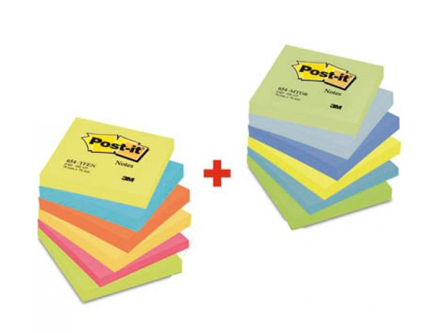 Das bunte Sparpaket von Post-it, 12x Post-it� Haftnotizen 7, 6 x 7, 6 cm