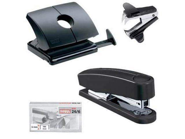 komplettes Schreibtischset mit leistungsstarkem Hefter, Locher und Klammerlöser, schwarz.
