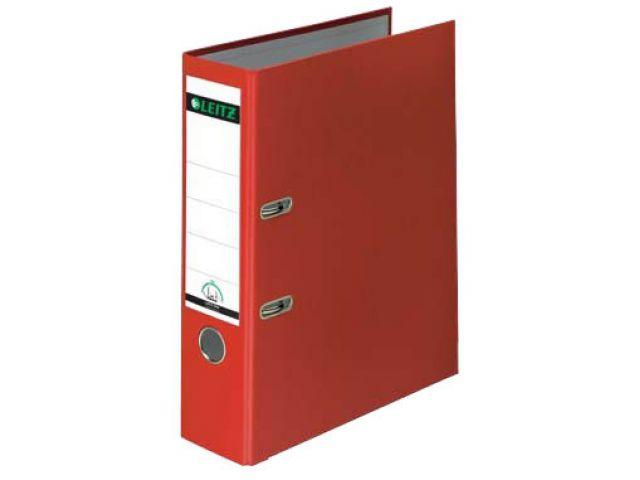 Leitz Ordner 8, 0cm breit in rot mit Kantenschutz aus Metall und Kunststoffhülle, red