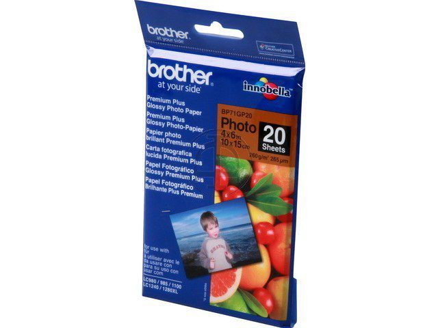 BP71GP20 Brother Fotoglanzpapier, 10 x 15, 20 Blätter, 260g