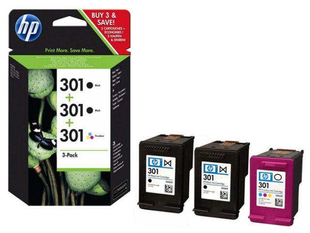 E5Y87EE Multipack Druckerpatronen mit Druckkopf HP NO 301, mit 3 x 3 ml und passend für Deskjet