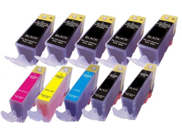 Multipack mit 10 kompatiblen Druckerpatronen ( mit CHIP) ersetzt PGI-520BKCLI-521BK, CLI-521c /
