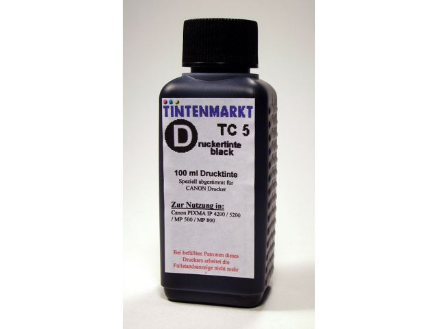 Druckertinte in pigmentiert Qualit�t f�r Canon PGI5BK 100 ml black