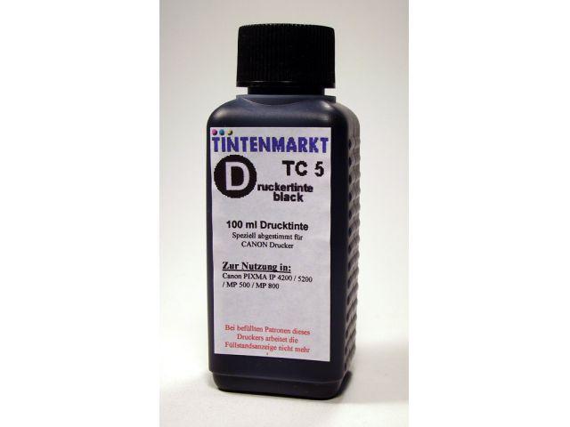Druckertinte in pigmentiert Qualität für Canon PGI5BK 100 ml schwarz
